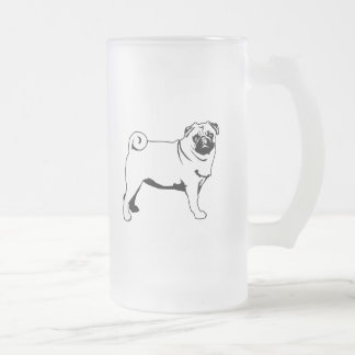 Pug Mops Frosted Glass Beer Mug