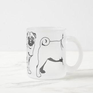 Pug Mops Frosted Glass Coffee Mug