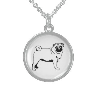 Pug Mops Round Pendant Necklace
