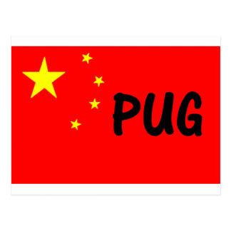 pug name china-flag.png postcard