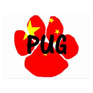 pug name paw china-flag.png postcard