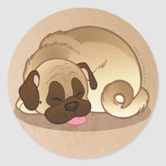 "Pug Nap Large 3"" Round Stickers"