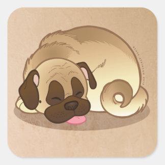 "Pug Nap Large 3"" Square Stickers"