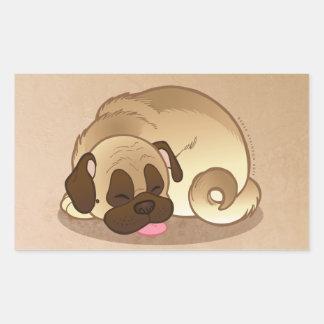 Pug Nap Large Rectangle Stickers