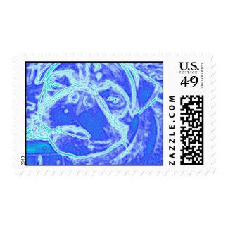 Pug neon blue Postage