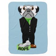 Pug Nope Baby Blanket