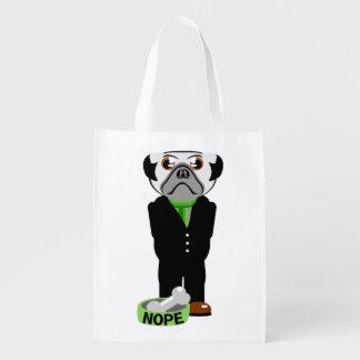Pug Nope Grocery Bag