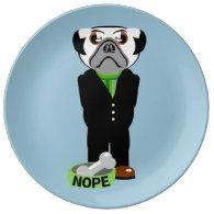 Pug Nope Porcelain Plates