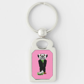 Pug Nope Silver-Colored Rectangular Metal Keychain