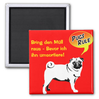 Pug of laws/magnet 2 inch square magnet