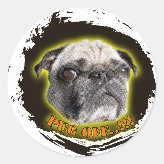 pug off classic round sticker
