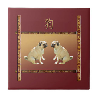 Pug  on Asian Design Chinese New Year of the Dog Tile
