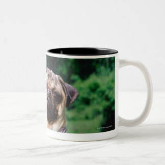 Pug on lawnmower wearing bandana Two-Tone coffee mug