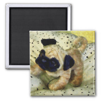 Pug on Pillow 2 Inch Square Magnet