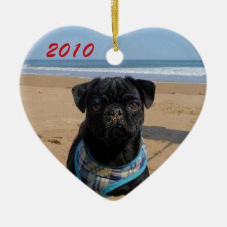 Pug on the Beach Heart Ornament