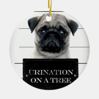 Pug Double-Sided Ceramic Round Christmas Ornament