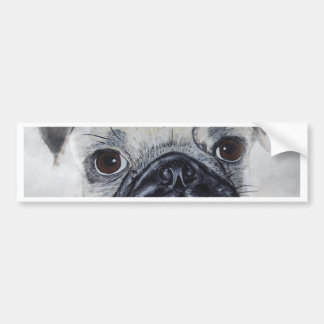Pug painted by Tutti Car Bumper Sticker