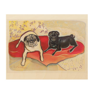 Pug painting - actual painting of 2 pugs wood print