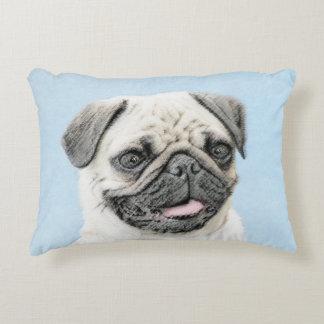 Pug Painting - Cute Original Dog Art Accent Pillow