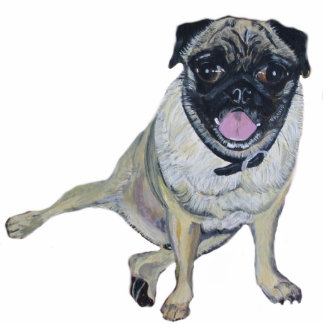 Pug Painting on a Pin Photo Sculpture Button