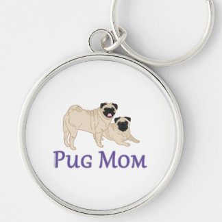 Pug Pair Dog Mom Silver-Colored Round Keychain