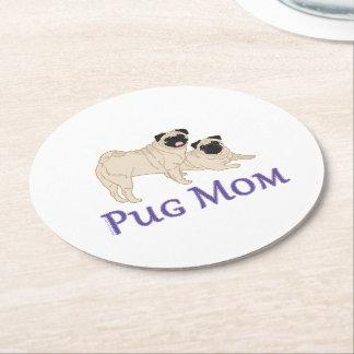 Pug Pair Dog Mom Round Paper Coaster