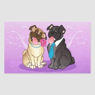 Pug Pair Fawn Black Large Rectangle Stickers