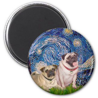 Pug Pair (fawn) - Starry Night 2 Inch Round Magnet