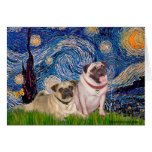 Pug Pair (fawn) - Starry Night Cards