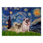 Pug Pair (fawn) - Starry Night Posters