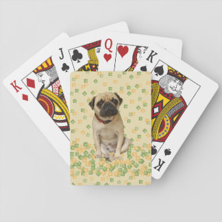 Pug Party in Earth Tones Poker Cards
