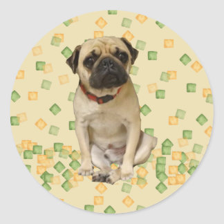 Pug Party in Hand Painted Earth Tones Classic Round Sticker