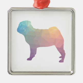 Pug Pastel Colored Geometric Pattern Silhouette Square Metal Christmas Ornament