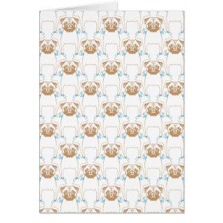 Pug Pattern brown blue Greeting Card