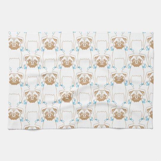 Pug Pattern brown blue Kitchen Towel