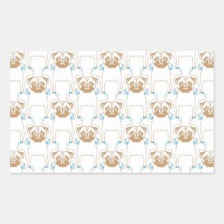 Pug Pattern brown blue Sticker