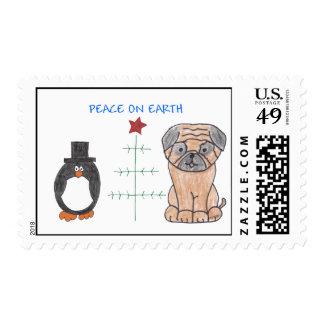 Pug Peace On Earth Postage