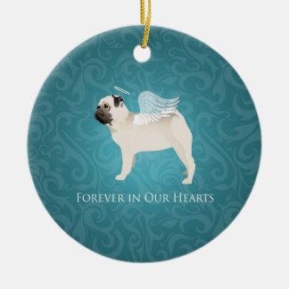 Pug Pet Memorial - Pug Angel Ceramic Ornament