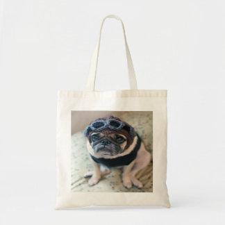 Pug Pilot Tote Bag