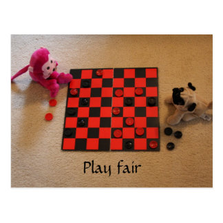 Pug & Pink Monkey Checkers Postcard