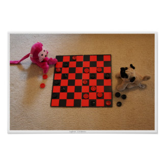Pug & Pink Monkey Checkers Poster