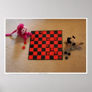Pug Pink Monkey Checkers Print