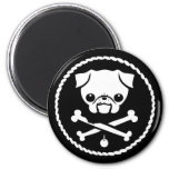 Pug Pirate 2 Inch Round Magnet
