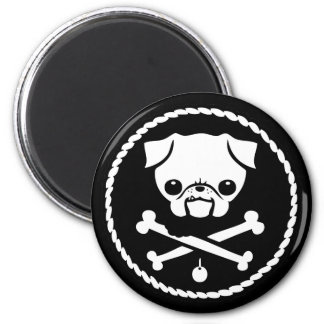 Pug Pirate 2 Inch Round Magnet
