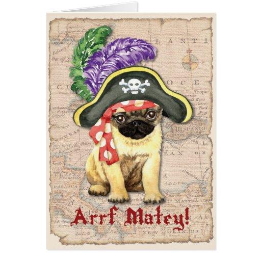 Pug Pirate Greeting Card