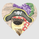 Pug Pirate Heart Sticker