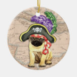 Pug Pirate Double-Sided Ceramic Round Christmas Ornament