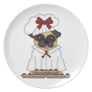 Pug Pizza Chef - Fawn Female Customizable Dinner Plate