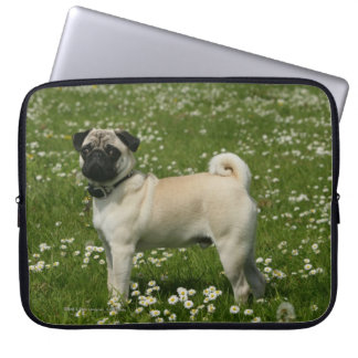 Pug Playing in Flowers Laptop Sleeves