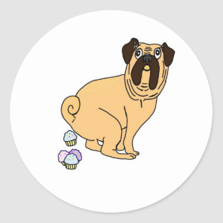 Pug Poopin' Cupcakes Classic Round Sticker